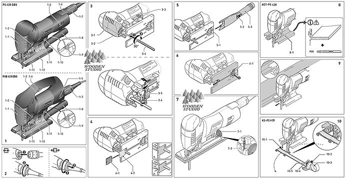 Схема расположения основных элементов управления маятникового лобзика Festool CARVEX PS 420 EBQ