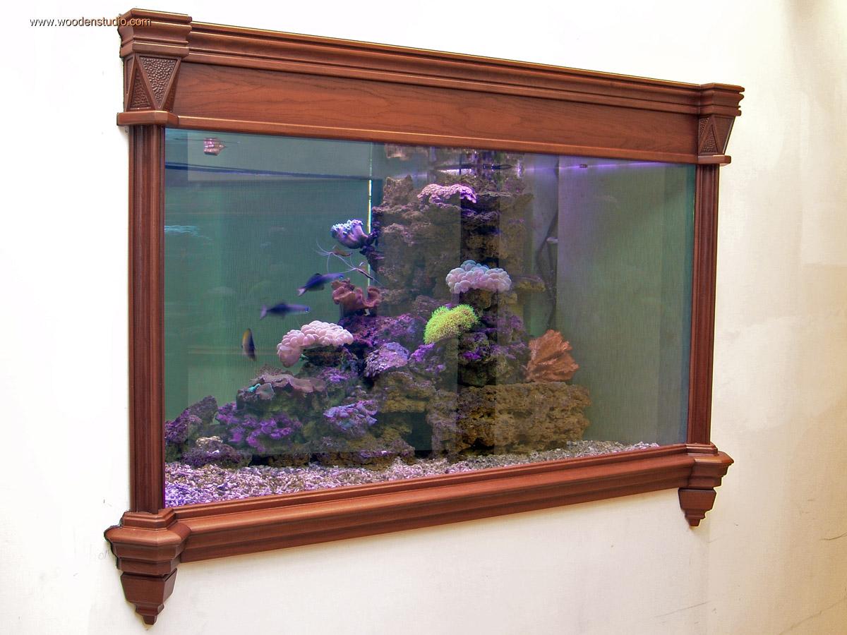 """Аквариум морской - оформление натуральным деревом. - """"Wooden Studio"""""""