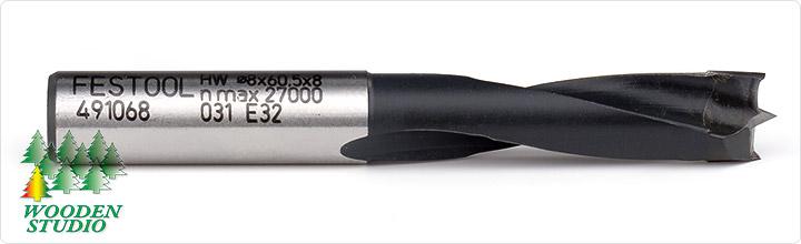Высокоскоростная фреза-сверло Festool с твердосплавной режущей частью и центрирующим шипом для использования с вертикальными фрезерами HW S8 D8/30 Z (491068).