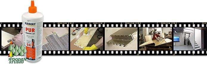 Изготовление лестницы с использованием полиуретанового клея.