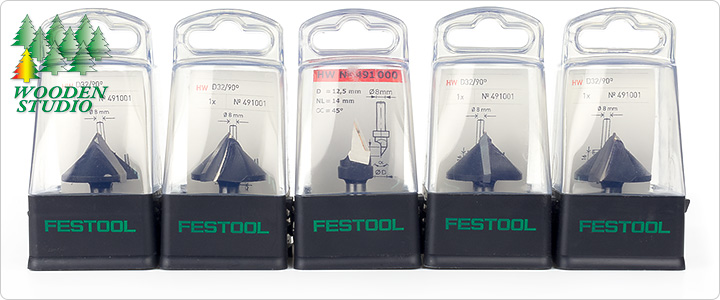 Фрезы Festool с твердосплавными напайками для выборки V-образных пазов в листах гипсокартона в пластиковых коробках.